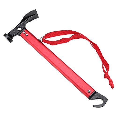 4 in 1 Outdoor Multifunktionelles Werkzeug Hammer Haken Schaufel Pflock-Auszieher für Camping ( Farbe : Rot )