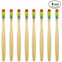 SoniFox Rainbow - Cepillo de dientes (madera), diseño de arcoíris