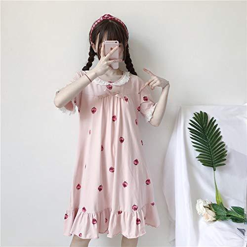 QAQBDBCKL Sommer Frauen Lolita Erdbeere Kleid Mädchen Rosa Kurzarm Süße Homewear Kleid Weichen Nachtwäsche