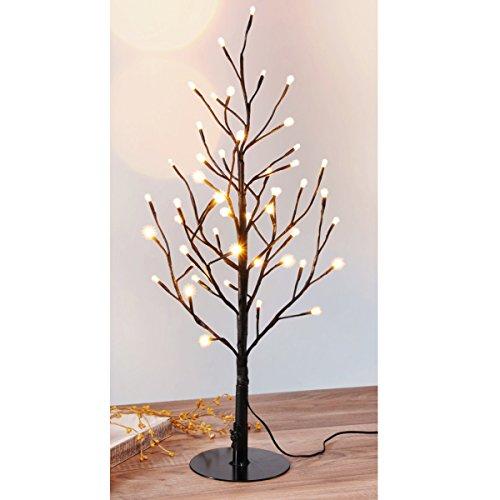 Unbekannt LED Baum 60cm hoch, 48 warmweiße LEDs, schwarzes Kabel • Lichterbaum Weihnachtsbeleuchtung Weihnachtsbaum Lichter Lampen Blüten