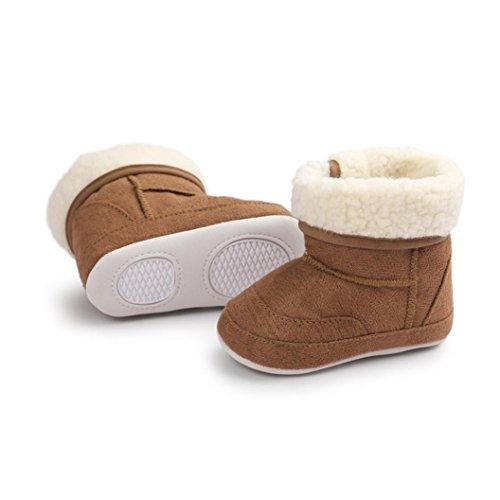 kingko® bébé fille douce Sole Bottes de neige molle Crib Chaussures Bottes tout-petits (12, Violet) café