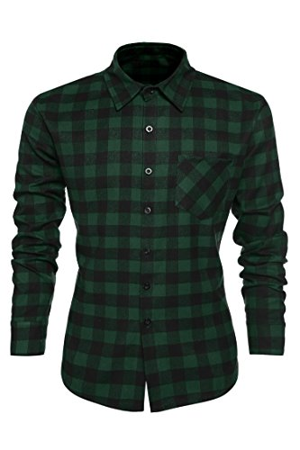 Coofandy Men's Casual Plaid Shirt Slim Fit T-shirts
