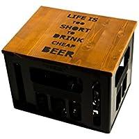 Geschenkidee Geburtstagsgeschenk Bierkastensitz Bierkistensitz Sitzauflage Bierkiste Bierkasten Sitz Hocker Holz Handmade Hipster mit Motiv TOO SHORT