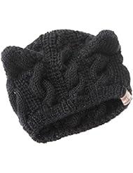 Gleader sombrero Sombrero de punto mono con orejas, diseño de gatos, color negro