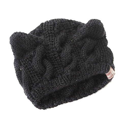 Gleader Cappello berretto a maglia carino con orecchie gatti nero