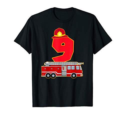 9. Geburtstag Feuerwehr Auto T-Shirt Feuerwehrmann Kostüm (Rot Feuerwehrmann Kostüm Frauen)