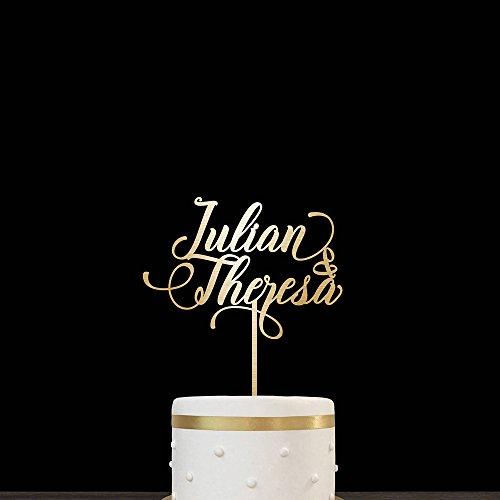 Kuchen-Aufsatz für Hochzeit, Brauch, Holz, Gold, für Braut und Bräutigam, Name personalisiert, Hochzeits-Kuchen, Aufsatz, lustig, Hochzeits-Geschenk