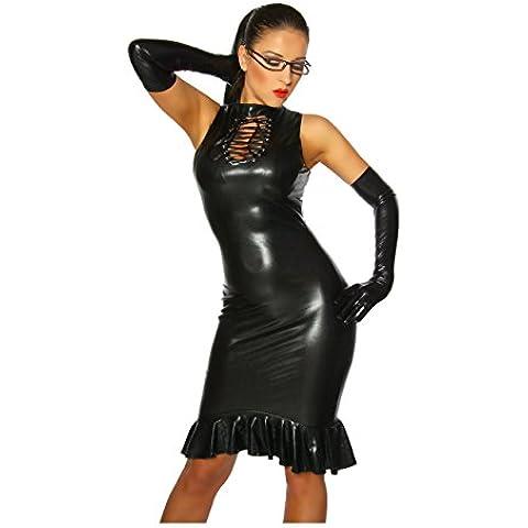 strenges de Wet Look Vestido con falda de ribete
