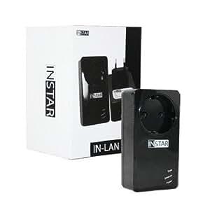 INSTAR IN-LAN 500p schwarz / Powerline Adapter / Zusatzadapter / Netzwerk über die Steckdose / Stromleitung / HomePlug konform