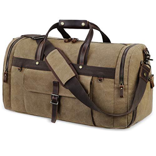 Reisetasche Herren Weekender mit Schuhfach Wasserdicht Große Retro Canvas Reisetaschen Freizeittasche Sporttasche Handgepäck für Männer Damen 55L Braun
