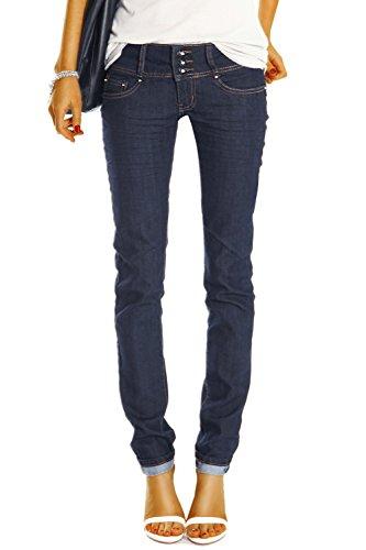 Bestyledberlin Damen Skinny Jeans Röhrenjeans, Hüftjeans Hose Slim Fit Stretch Jeanshose j0axx 42/XL (Navy Blue Strass Womens)