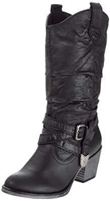 Rocket Dog Women's Sidestep Black Rider Fabric Mid-Calf Western Boot 7 UK