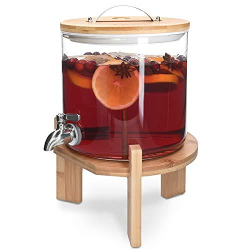 Navaris Dispenser Bevande Vetro 5l con Rubinetto Coperchio e Stand bambù Distributore Erogatore Acqua Bibite Calde Fredde Drink Dispenser