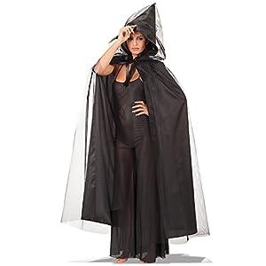 Carnival Toys - Capa de tul y tafetán con capucha, 140 cm, color negro (29035)