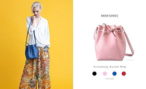 Melkco Fashion Purden borsa secchiello in Cross stile in vera pelle (ciliegio)