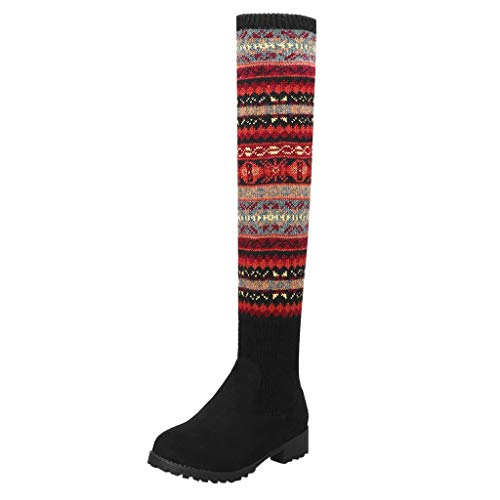 FNKDOR Schuhe Damen Overknee Socken Stiefel Weihnachten Stricken Hohe Winterstiefel Warm Elastisch Langschaftstiefel Schwarz 39 EU -