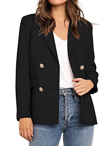 Roskiky Damen Blazer Cardigan Double-Breasted Lang Ärmel Elegant Bolero Business Jacke Blazer Slim Fit Anzug Trenchcoat Schwarz Größe L