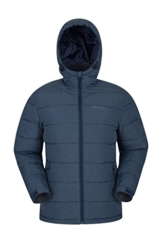 Mountain Warehouse Stalagmite Gefüttert Herren Jacke - Wasserfeste Regenjacke, Fleece gefütterte Winterjacke, Isoliert, Taschen, Warm Marineblau X-Small