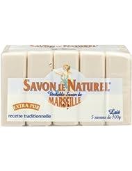 Savon le Naturel - Vértiable Savon de Marseille Extra Pur au Lait x5 - 100 g