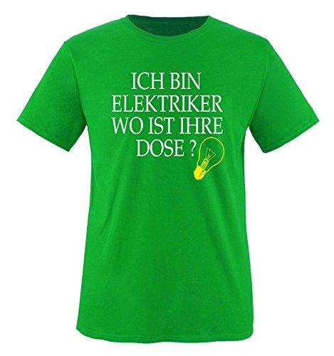 Elektriker - WO IST IHRE DOSE? - Herren T-Shirt - Grün/Weiss-Gelb Gr. XL