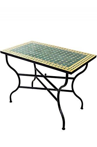 ORIGINAL marokkanischer orientalischer mediterraner Orient Mosaik Mosaiktisch küchentisch esstisch Fliesentisch Gartentisch Terassentisch Tisch - Mosaiktisch Marrakesch Grün/Gelb 100x60cm