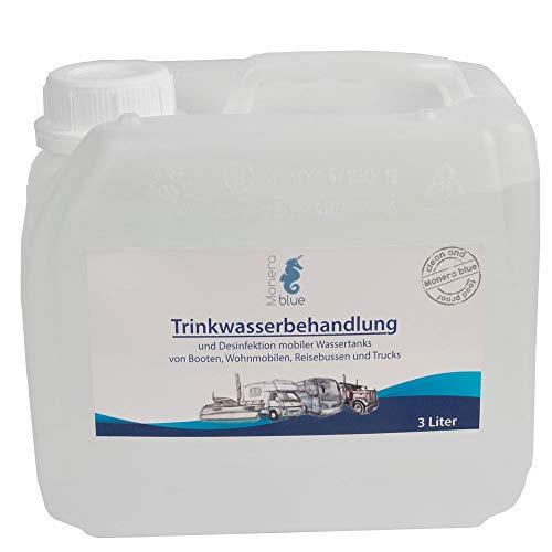 Monerablue 3L Trinkwasser Wasseraufbereitung Konservierung für Camper, Boot, Yacht, Trucks, Wohnmobile, Mobile Tanks, Entkeimung, reines Wasser, Tankreinigung, umweltveräglich -