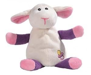 """Bouillotte Peluche pour enfant et bébé """"Mouton rose"""" aux graines naturelles"""