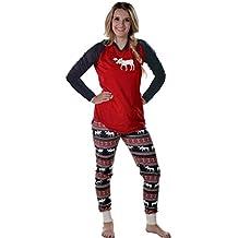 Imixcity Set de 2 Piezas Pijama de la Mujer Ropa de Dormir Familia de Navidad Moose Pajama Set Mamá Papá Niños Ciervo Pijama Set