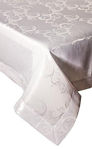 Dkaren- Elegante und festliche wasserabweisend mit Lotus-Effekt Tischdecke Tischtuch für jeden Anlass (O540) weiß (140x320cm)