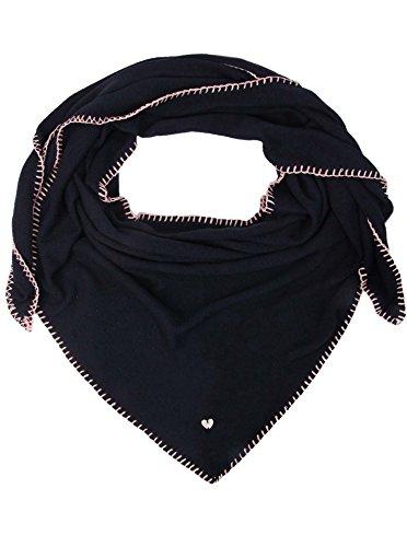Zwillingsherz Dreieckstuch mit Kaschmir - Hochwertiger Schal mit Heckelrand für Damen Jungen Mädchen - XXL Hals-Tuch und Damenschal - Strick-Waren für Sommer Herbst Winter 150cm x 120cm - nav -
