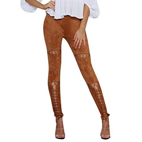 LAEMILIA Damen Leggings Lace up Ripped Hose Bandage Löchern mit hohe Taille  Stretch Skinny Hosen Bleistifthose 8dbf920ea5