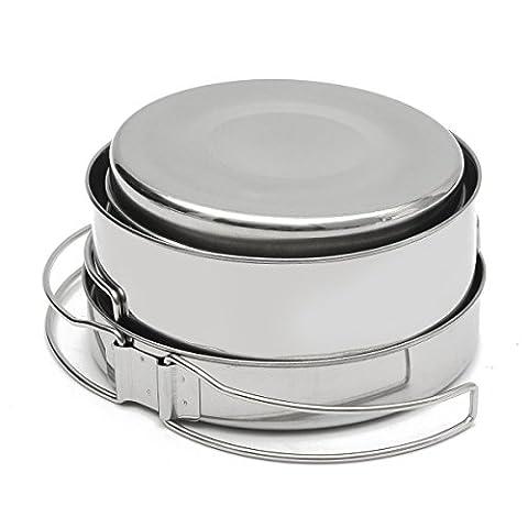 Inovey 8Pcs Outdoor Cooking Picnic Bbq Pot Pan Plate Cup Set Cookware Vaisselles En Acier Inoxydable Couverts