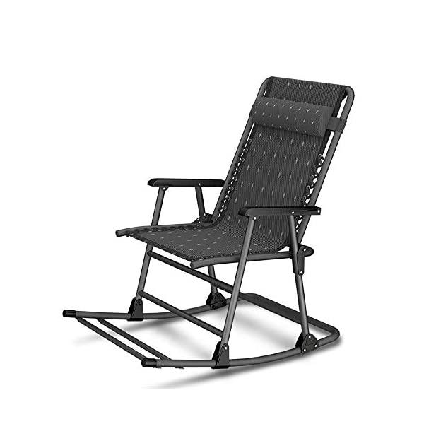 LYATW Beach Folding Rocking Chair,home Balcony Adult Recliner Nap Lazy Folding Chair Summer Leisure Chair Lazy Office Outdoor LYATW Folding chair:The seat is suspended in its frame and supports your weight evenly to help reduce pressure points. High quality pipe racks strengthen the load-bearing capacity. In addition, it also enhances the stability and safety of the deck chair. Padded pillow is adjustable and completely removable allowing it to serve as a headrest, lumbar support or for other support purposes. Space Saving:The folding design makes it space-saving when not in use. You can just fold it up to a flat piece. 1