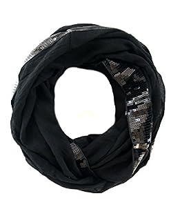 elegantes Damen Schaltuch Scarlett mit Pailetten Bordüre, einfarbiger Loop Schal in schwarz