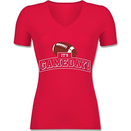 Shirtracer Sonstige Sportarten - It's Gameday Vintage Football - Tailliertes T-Shirt mit V-Ausschnitt für Frauen Rot