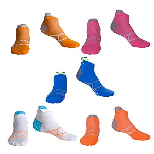 LIKERAINY Mädchen Damen Modischen Performance Lightweight Sneaker Kurz Sportsocken Funktionssocken Kompressionssocken Athlet Laufsocke 5 Paar (39-42 EUR) Mehrfarbig Atmungsaktiv Antibakteriell Geruchs