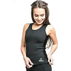 VEOFIT Damen Schwitz Weste: hohe Schlankheits-Töne den Bauch, Rücken und Hüften für eine straffere Haut und eine verfeinerte Silhouette M