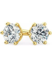 Abelini 1.00 Carat Certified 100% Natural Round Diamond Stud Earrings for Women In 9K Yellow Gold