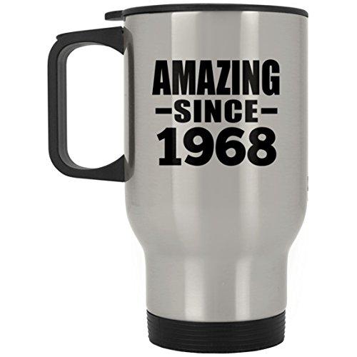 Designsify 51st Birthday Amazing Since 1968 - Travel Mug Reisetasse Edelstahl Isolierter Tumbler Becher - Geschenk zum Geburtstag Jahrestag Muttertag Vatertag Ostern Becher Classic White Wine