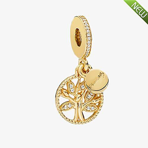 PANDOCCI 2018 Regali per la Festa della mamma Oro giallo famiglia Heritage ciondola Bead 925 argento fai da te adatto per...