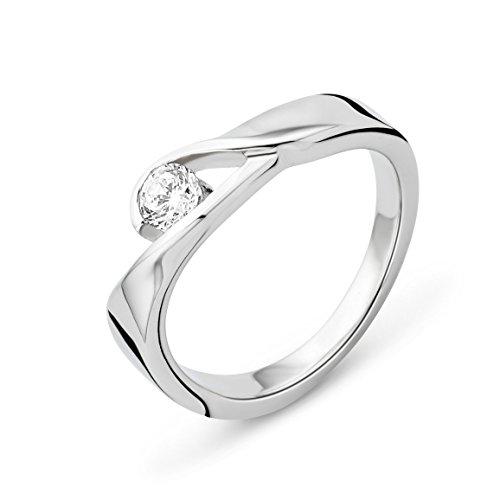 Miore Ring Damen  Silberfarbig 925 Sterling Silber  mit Rundschliff Zirkonia Steinchen