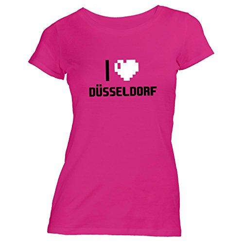 Damen T-Shirt - I Love Düsseldorf - Deutschland Reisen Herz Heart Pixel Pink
