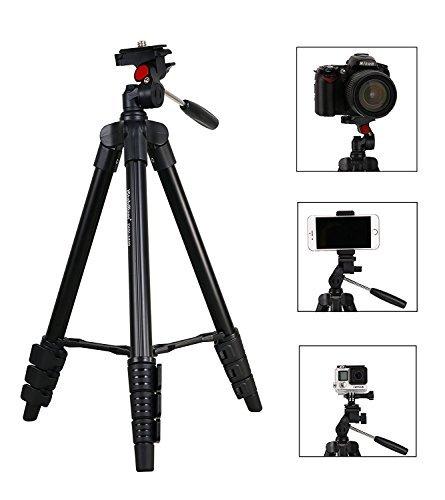 Fotopro Kamera Stativ, DG-3400 Kamera Ständer, Leichtes Reisestativ mit Kugelkopf, Handy-Adapter und Gopro-Adapter und Stativtasche