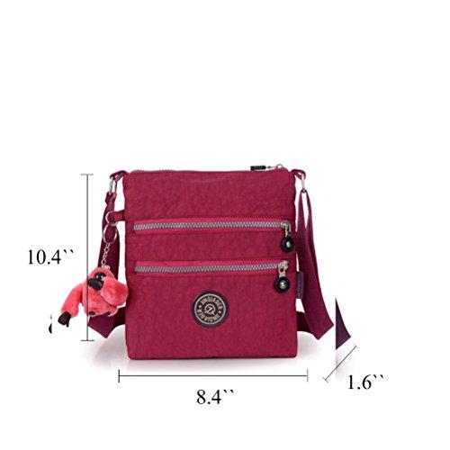 Honeymall borse a spalla borsa a tracolla muliti tasche borsetta le donne casuale multi tasca Borsa a tracolla impermeabile Viola Viola d'uva