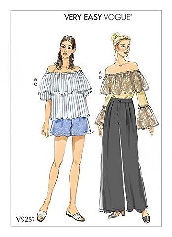 Vogue femmes Patron de couture facile 9257Off The épaule à volants TOPS, Short et pantalon