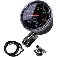Balight Classic School Style Bicycle Speedometer Analog Odometer for Exercycle & Bike