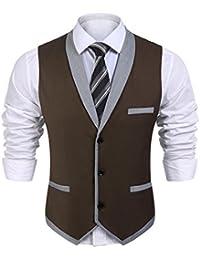 Wixens Hommes Gilet Costume sans Manche Slim Fit Casual Col V pour  Buisiness et Mariage 05e54f9243bb