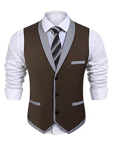 Pagacat Anzug Weste Herren, Mens, Männer Casual V-Neck 3 Button 3 Taschen Kontrast Farbe Slim Fit Lässige Weste Anzug Für Hochzeit, Freizeit (Hochzeit Weste Braun)