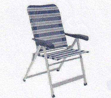Chaise pliante de camping sTABIELO-chaise pliable avec 6 niveaux de puissance réglable de 68 cm à dossier haut en dURALUMINIUM-tube ovale léger - 3,8 kg-couleur-bleu/gris-charge max. : 140 kg-hOLLY sunshade contre supplément disponible avec hOLLY fÄCHERSCHIRMEN-hOLLY ® produits sTABIELO-innovation fabriqué en allemagne