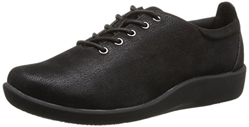 Clarks Cloudsteppers Sillian Tino Schnürschuh Black Synthetic Nubuck